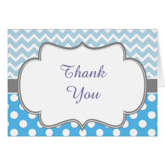 Blue and Gray Chevron and Spots Thank You Card