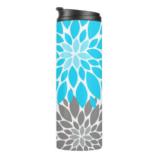 Blue and Gray Chrysanthemums Floral Pattern Thermal Tumbler