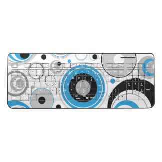 Blue and Gray Circles Wireless Keyboard