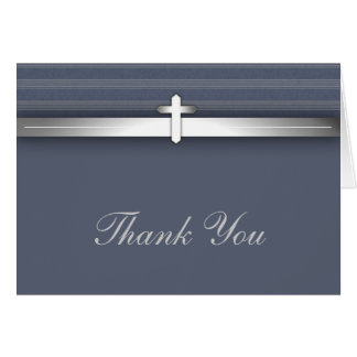 Blue and Gray Cross Thank You Cards