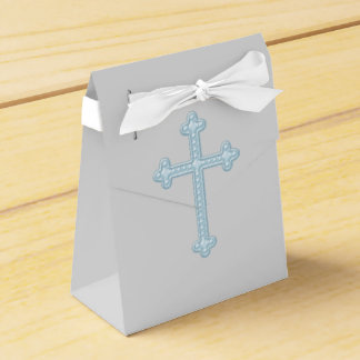 Blue and Gray First Communion Favor Boxes