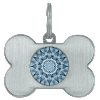 Blue and gray / grey, flower mandala pet tag