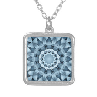 Blue and gray / grey, flower mandala silver plated necklace