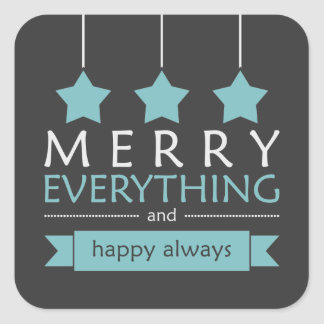 Blue and Gray Merry Everything Holiday Square Sticker