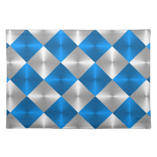 Blue and Gray Metallic Looking Squares Placemat