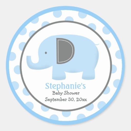 Blue and Gray Mod Elephant Round Sticker