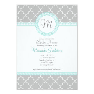 Blue and Gray Monogram Shower Invitation