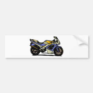 blue and gray motorcycle bumper sticker