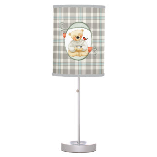 Blue and Gray Plaid Pattern with Teddy Bear Table Lamp