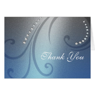 Blue and Gray Shimmer and Crystal Thank You Card