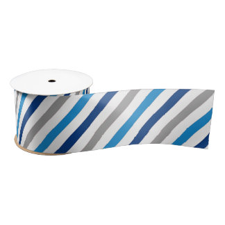 Blue and Gray Striped Ribbon Satin Ribbon