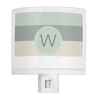 Blue and Gray Stripes with Your Monogram Night Lights