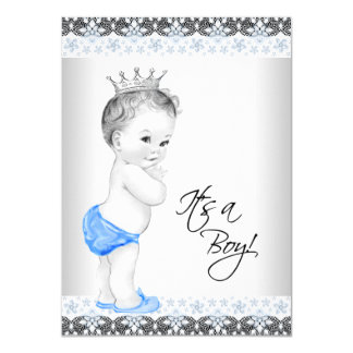 "Blue and Gray Vintage Baby Boy Shower 4.5"" X 6.25"" Invitation Card"