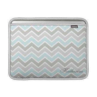 Blue and Gray Zigzag Chevron Monogram MacBook Sleeve