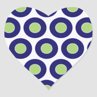 Blue and green abstract circle pattern heart sticker