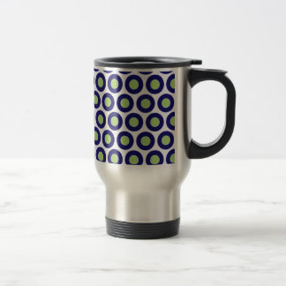 Blue and green abstract circle pattern coffee mugs
