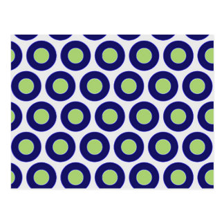 Blue and green abstract circle pattern postcard