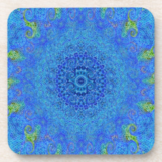 Blue and green abstract design coasters