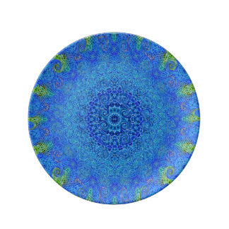 Blue and green abstract design decorative plate. plate