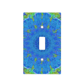 Blue and green abstract design light switch cover