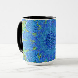 Blue and green abstract design mug