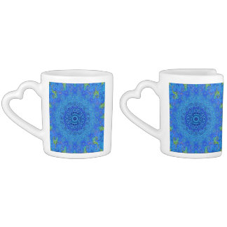 Blue and green abstract design mugs