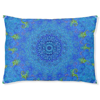Blue and green abstract design pet bed