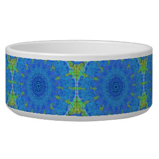 Blue and green abstract design pet bowl