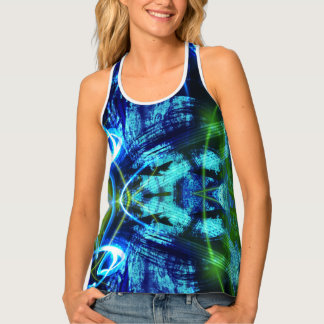 Blue And Green Abstract Pattern Tank Top