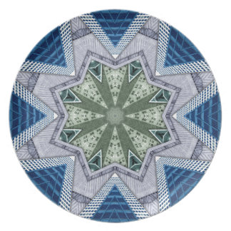 Blue And Green Abstract Plate