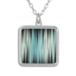 Blue And Green Abstract Silver Plated Necklace