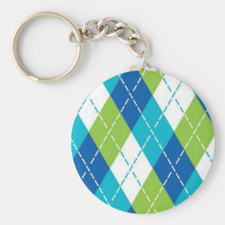 Blue and Green Argyle Basic Round Button Keychain