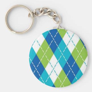 Blue and Green Argyle Keychain
