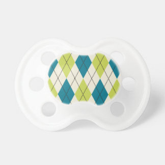 Blue And Green Argyle Baby Pacifier