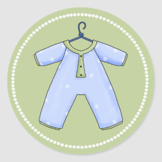 Blue and Green Baby Pajamas Baby Shower Sticker