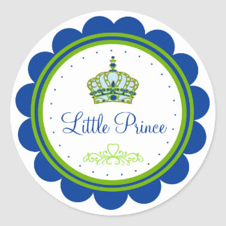 Blue and Green Baby Shower Classic Round Sticker