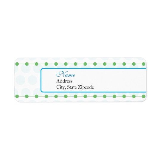 Blue and Green Baby Shower Return Address Label