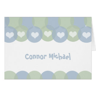 Blue and Green Balloons Baby Boy Thank You Note Card