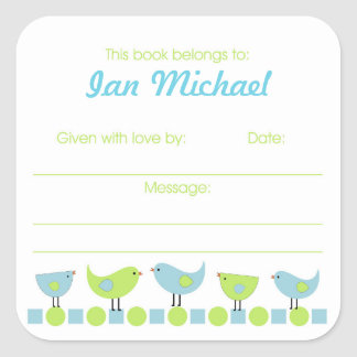 Blue and Green Birds Library Book Plate bookplates Square Sticker
