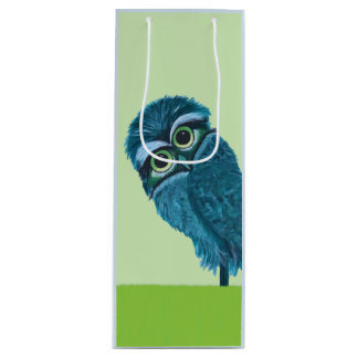 Blue and Green Burrowing Owl Decor Wine Gift Bag