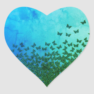 Blue and green butterflies pattern heart stickers