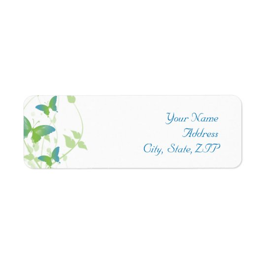 Blue and Green Butterfly Vine Return Address Label