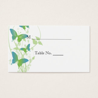Blue and Green Butterfly Vine Wedding Place Cards