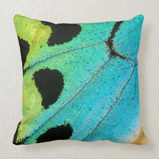blue and green butterfly wing throw pillow