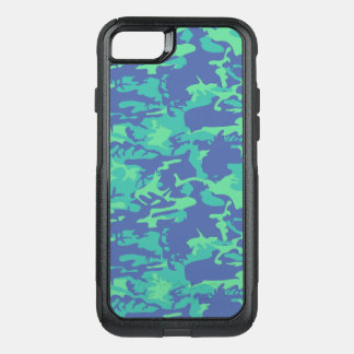 Blue and Green Camo OtterBox Commuter iPhone 8/7 Case