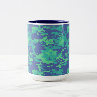 Blue and Green Camo Two-Tone Coffee Mug