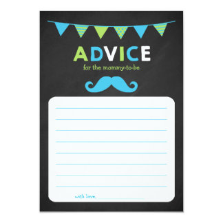 Blue and Green Chalkboard Baby Shower Advice Card