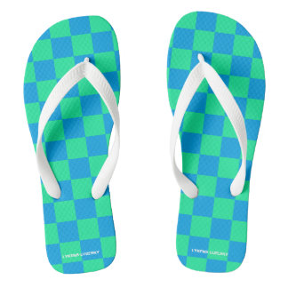 blue and green checkered flip flops