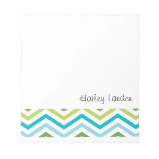 Blue and Green Chevron  |  Personalized Notepads