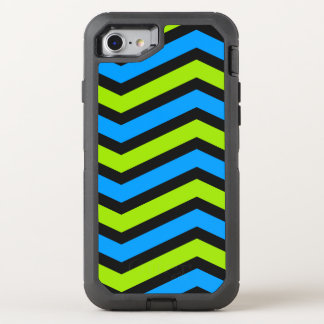 Blue and Green Chevron Texture OtterBox Defender iPhone 8/7 Case
